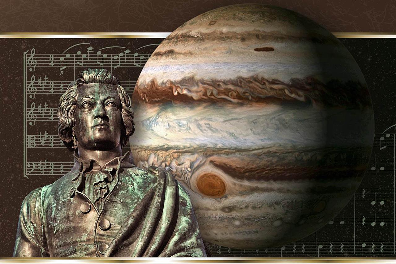 Photo illustration of W.A. Mozart and Jupiter