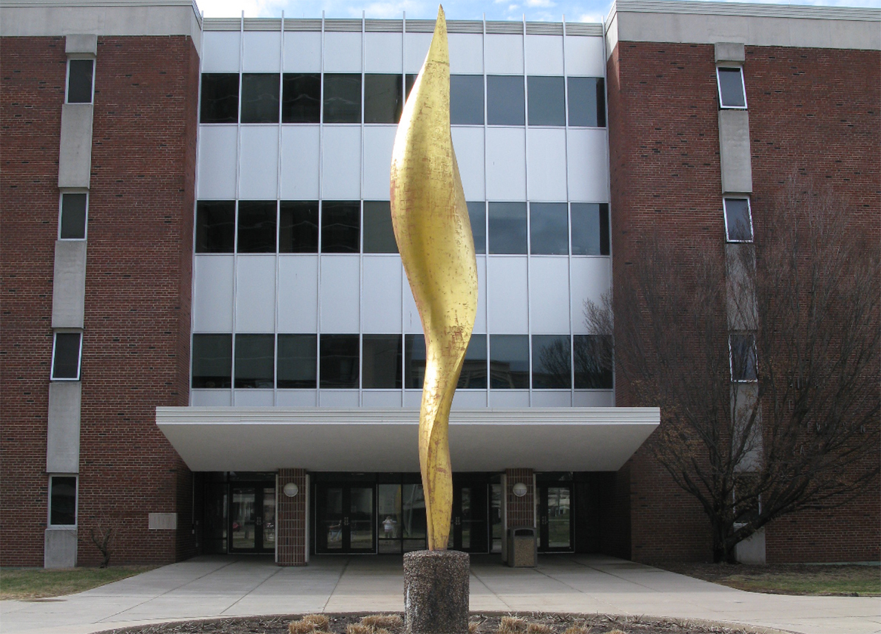 An image of the sculpture in front of Stevenson Hall.