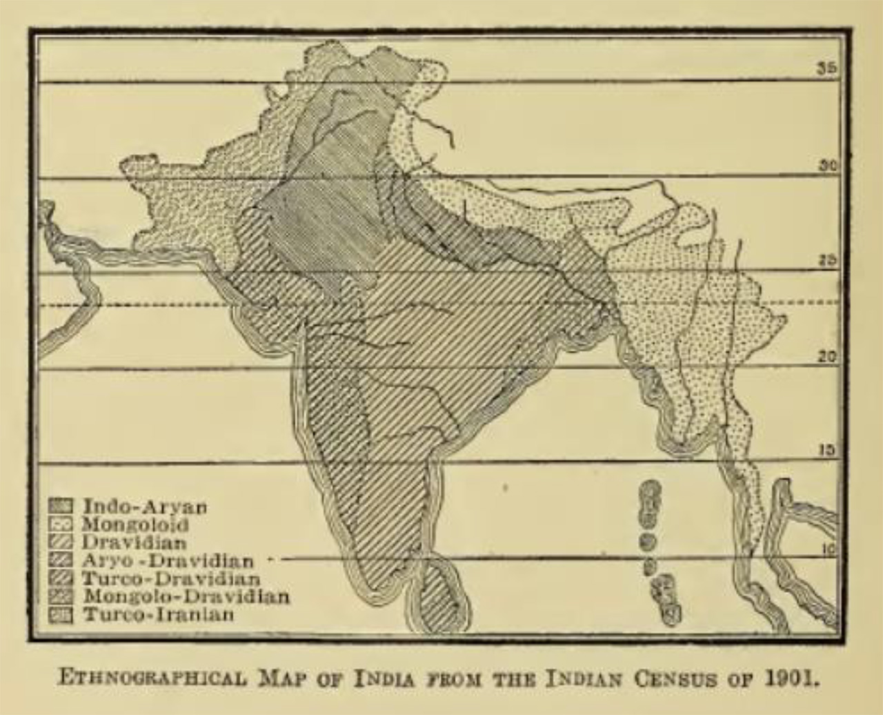 An ethnographic map of India from Ellen Semple's Influences of Geographic Environment (1911).