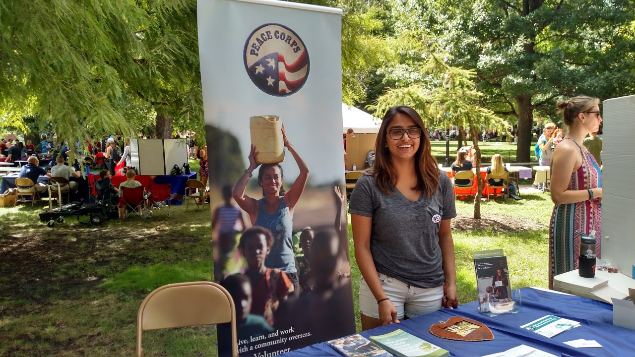 Jyoti Gohil at the Peace Corps table for Festival ISU.