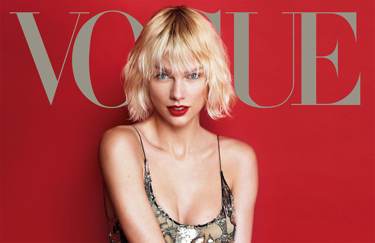 image of the cover of Vogue magazine with Taylor Swift