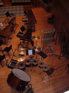 Image of percussion instruments set up at Illinois State University's Center for Performing Arts.