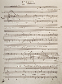 """Benjamin Britten: Discarded manuscript of unpublished setting of John Donne's """"Epilogue,"""" 15 August 1945, GB-ALb 2-9300889, 1r and 1v. (The Britten–Pears Foundation. Facsimile of leaves one and two of """"Epilogue"""" are reproduced by kind permission of the Britten–Pears Foundation.)"""