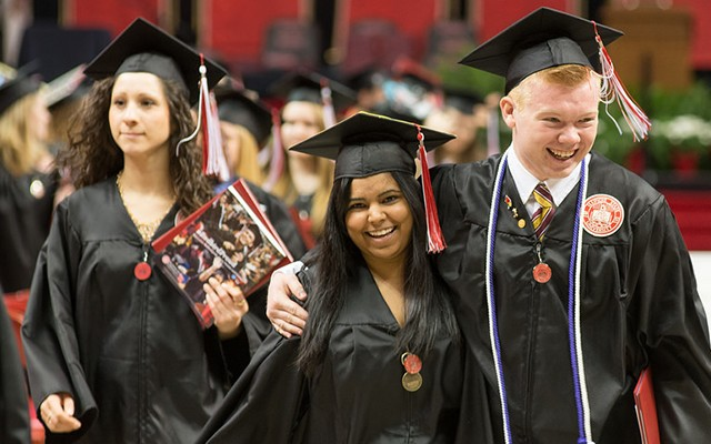 Illinois State graduates celebrate after spring commencement.
