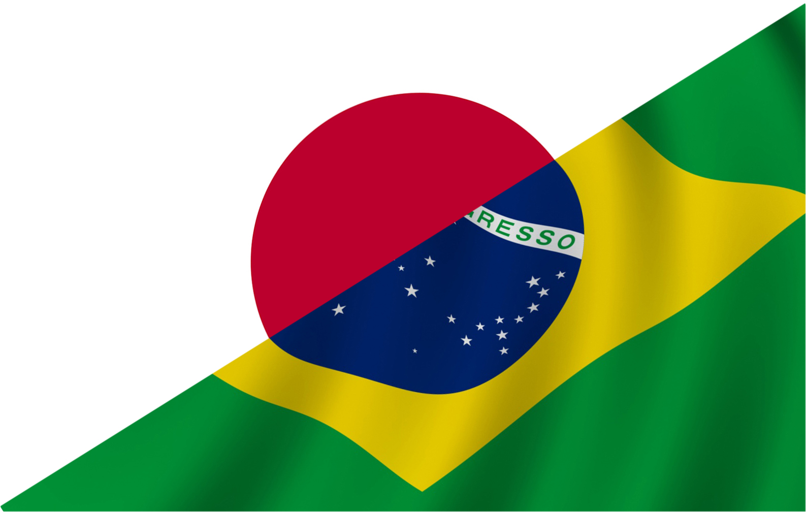 image of Brazilian and Japanese flags merged
