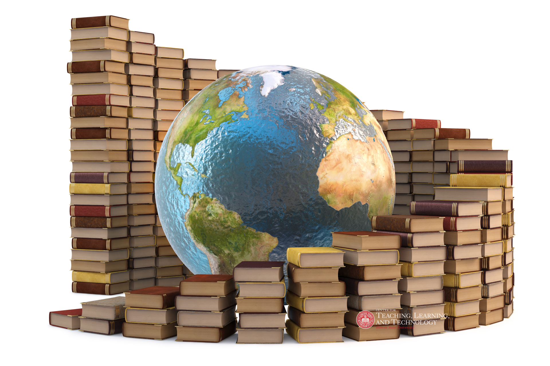 Globe surrounded by books