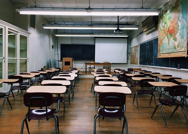 empty K-12 classroom