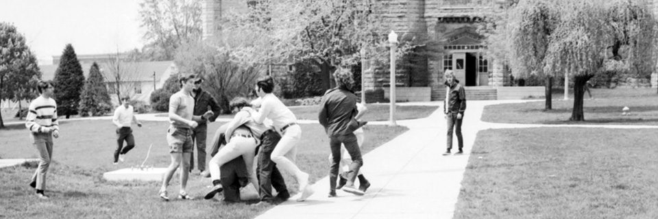 Students involved in an altercation on ISU's Quad in May 1970