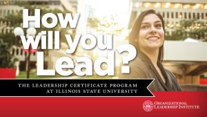 Female student with text saying How Will You Lead?