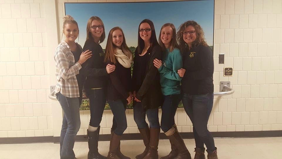 Members of the Sigma Alpha executive board from left to right: Hailey Holder (Rush chair), Bryanna Fesser (treasurer), Amanda Diesburg (first vice president), Ashley Hauptman (president), Susie Thompson (second vice president), and Sarah Kilver (secretary).