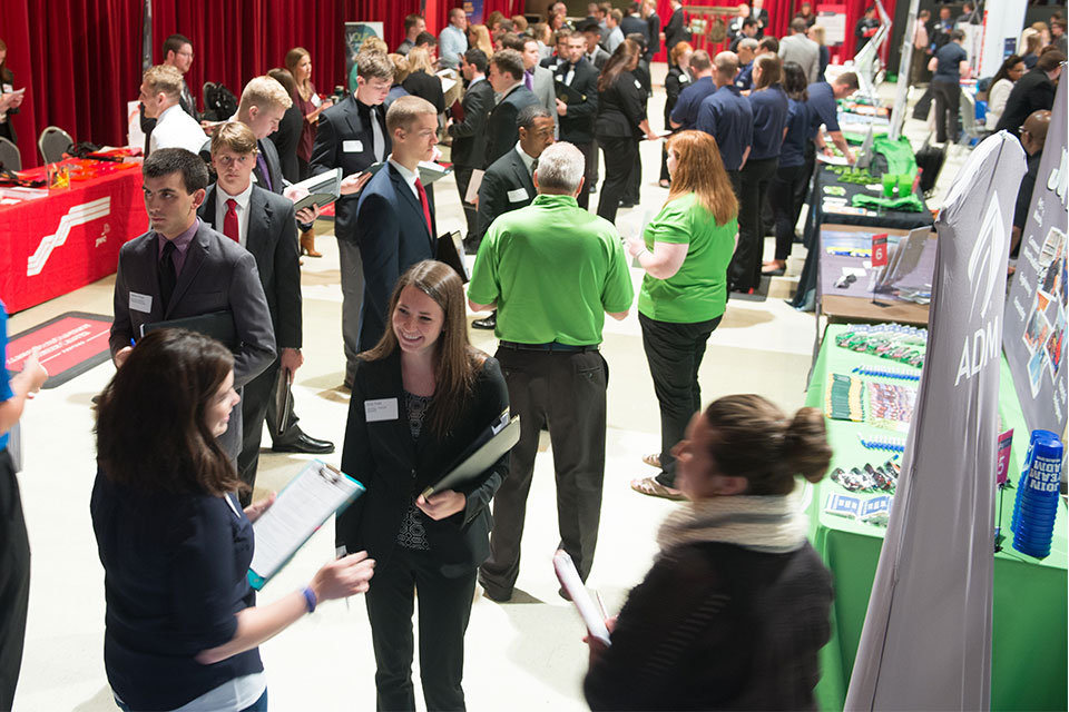 Students and alumni from all majors attend Illinois State's career fairs each semester to network with recruiters.