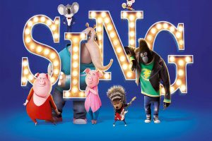 The word SING is in theater lights with cartoon animals surrounding it.