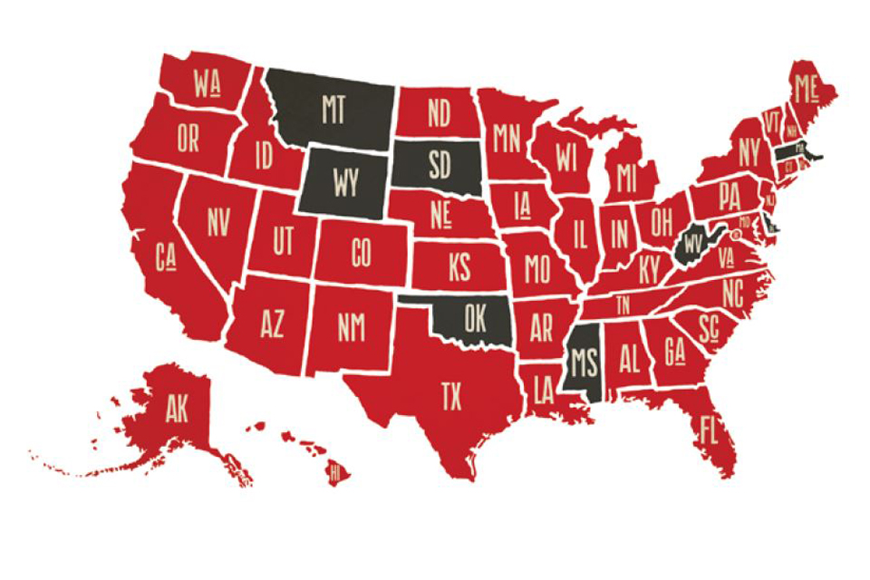 Map illustration of the United States representing the 42 states where CSPA alumni live and work. States in red indicate that there is at least one program graduate in the area. Gray states indicate where there are no CSPA alumni. Gray states include Montana, Oklahoma, South Dakota, Wyoming, Mississippi, West Virginia, Massachusetts, and Road Island.