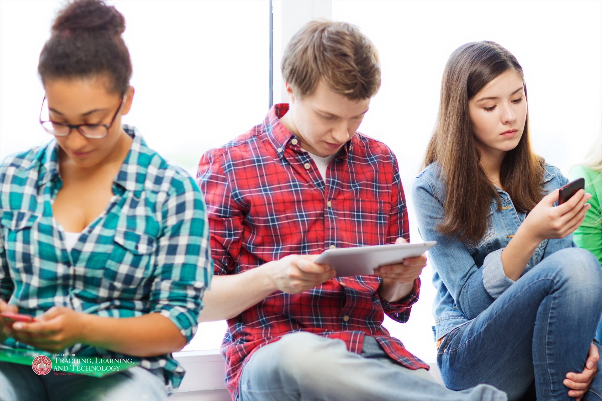 students on mobile devices
