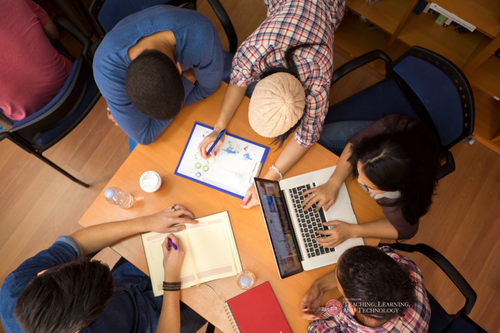 Students working on a group project