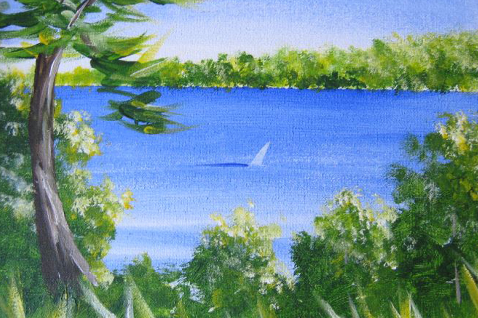 Painting of trees and water