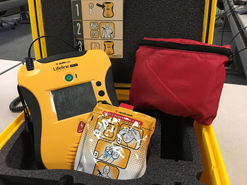 photo of an automated external defibrillator (AED) unit
