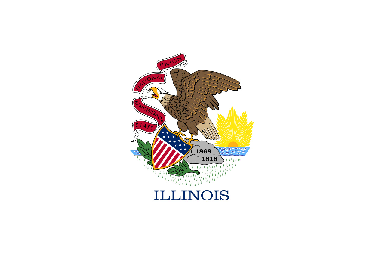 Flag of state of Illinois with eagle and shield