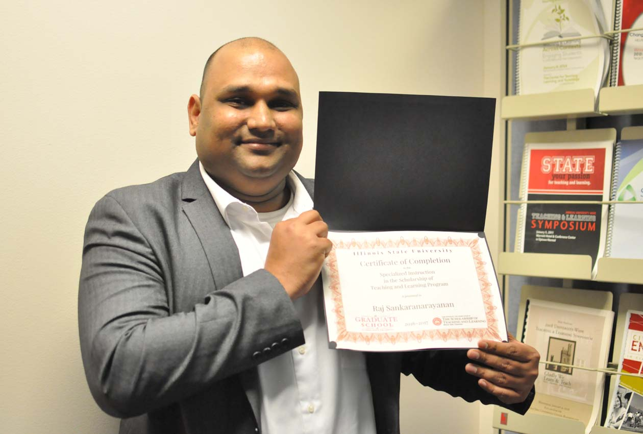 Rajagopal Sankaranarayanan with his specialized instruction in the scholarship of teaching and learning program certificate
