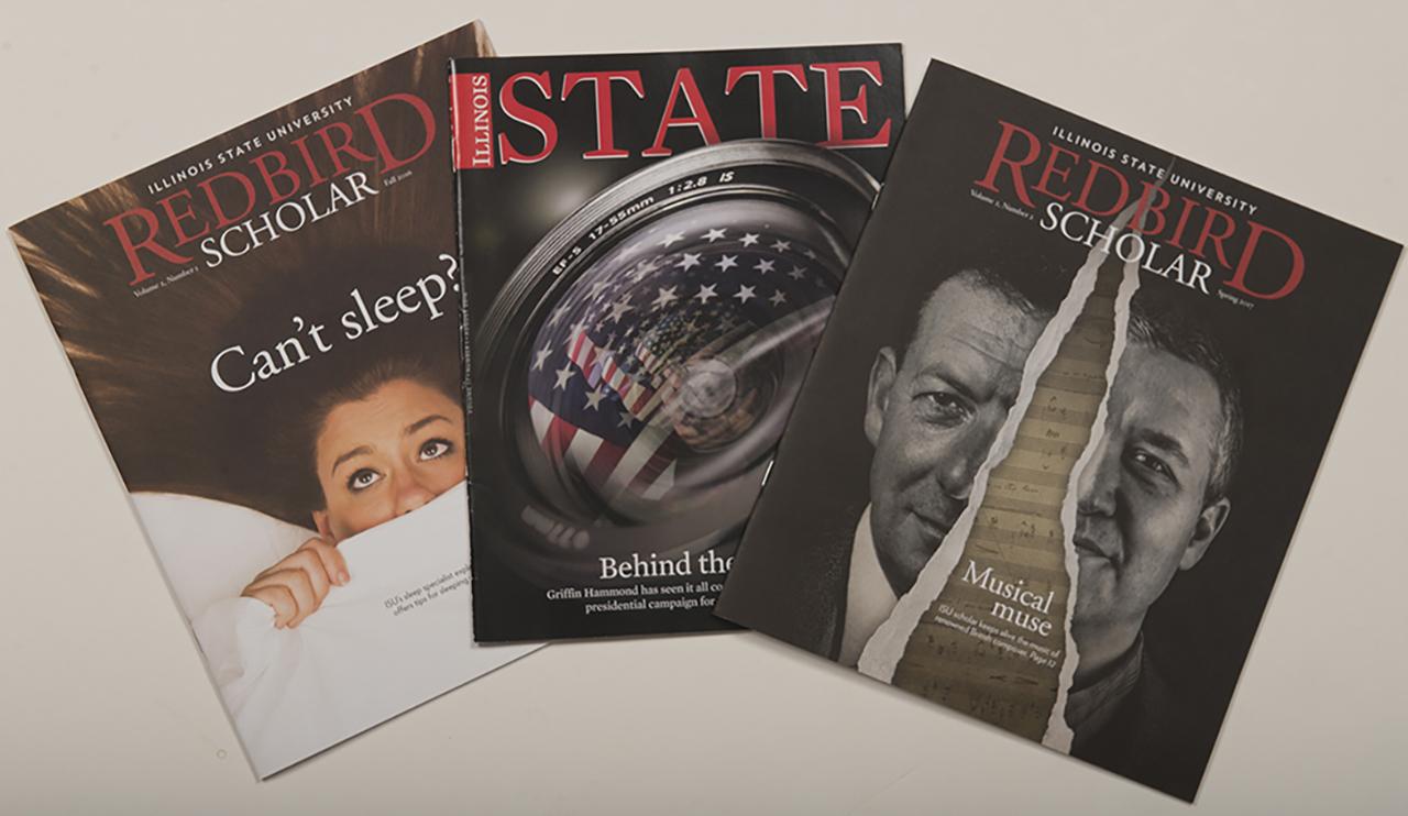 Covers of three magazines
