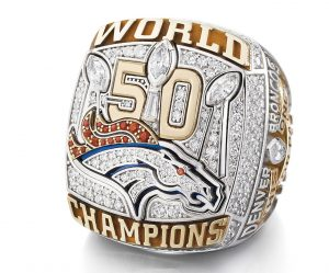 Denver Broncos Super Bowl 50 team ring, which Svoboda helped design.