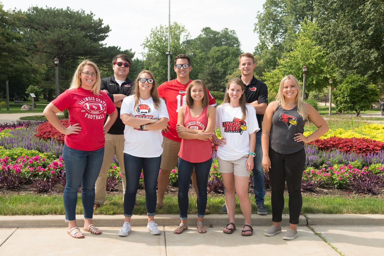 Students wearing Redbird gear