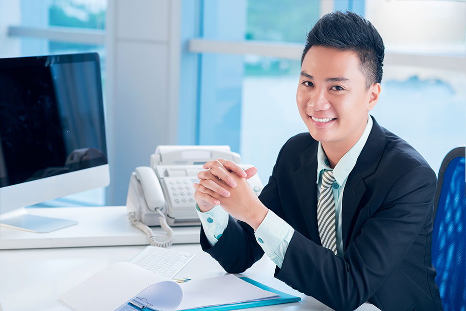 Accountant sitting at desk