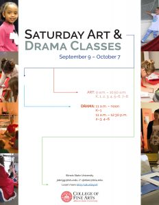 Flyer with information regarding Fall 2017 Creative Art and Drama Classes offered for children.