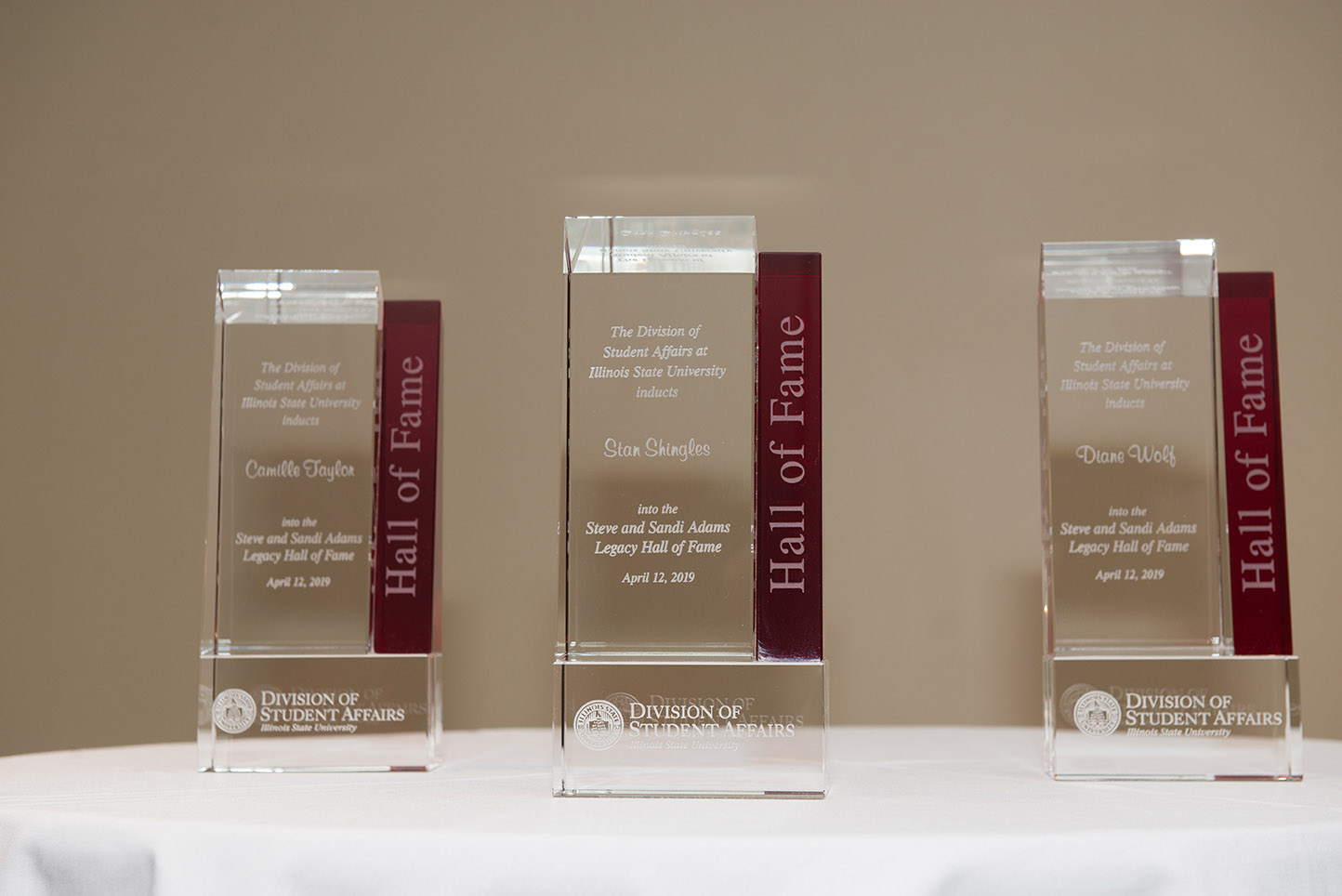 Awards for the Hall of Fame that include Camille Taylor, Stan Shingles, and Diane Wolf