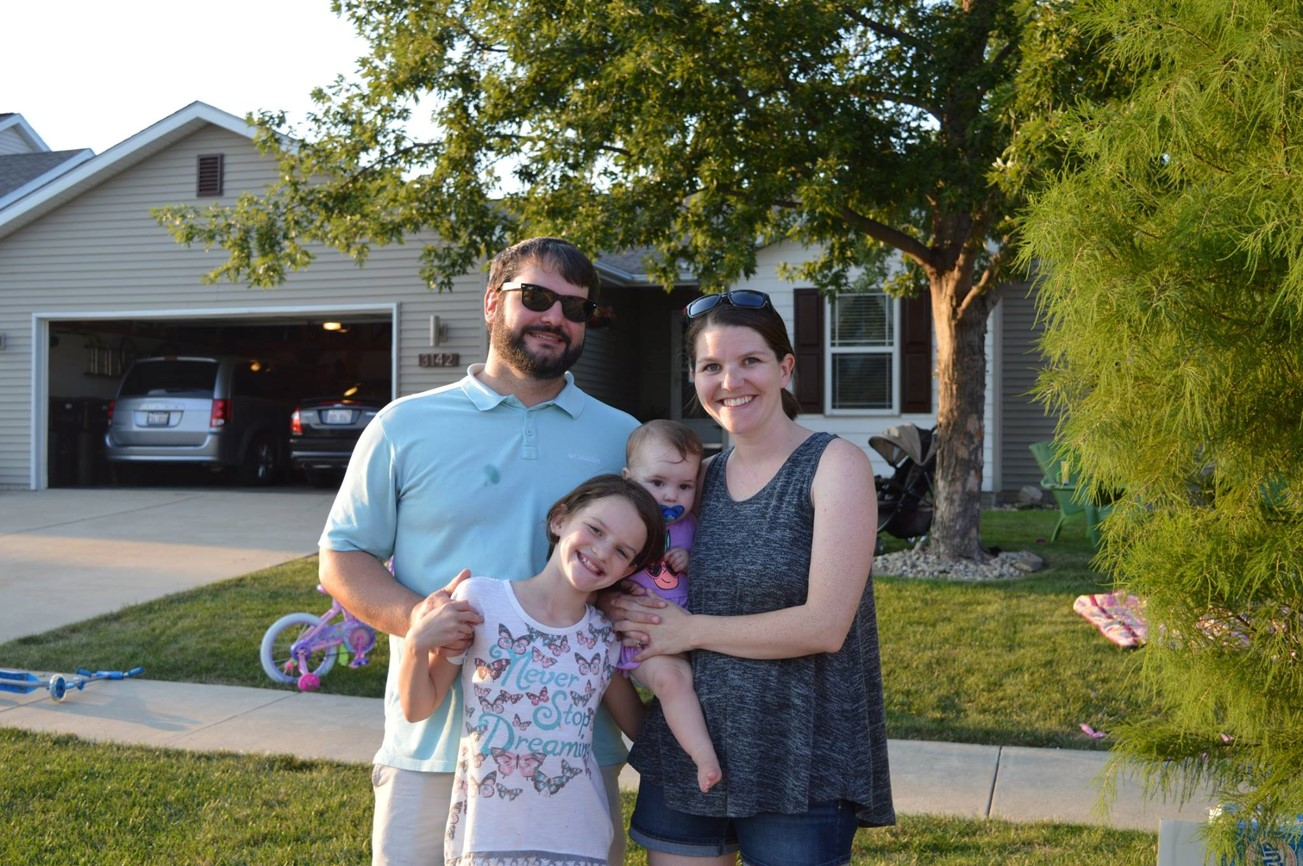 A recent Bardwell family picture with Amy's husband Jon, and daughters Lila Grace (9), and Stevie (11 months).