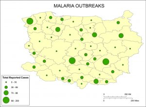 map of area with a malaria outbreak, with different size circles designating how intense the outbreak