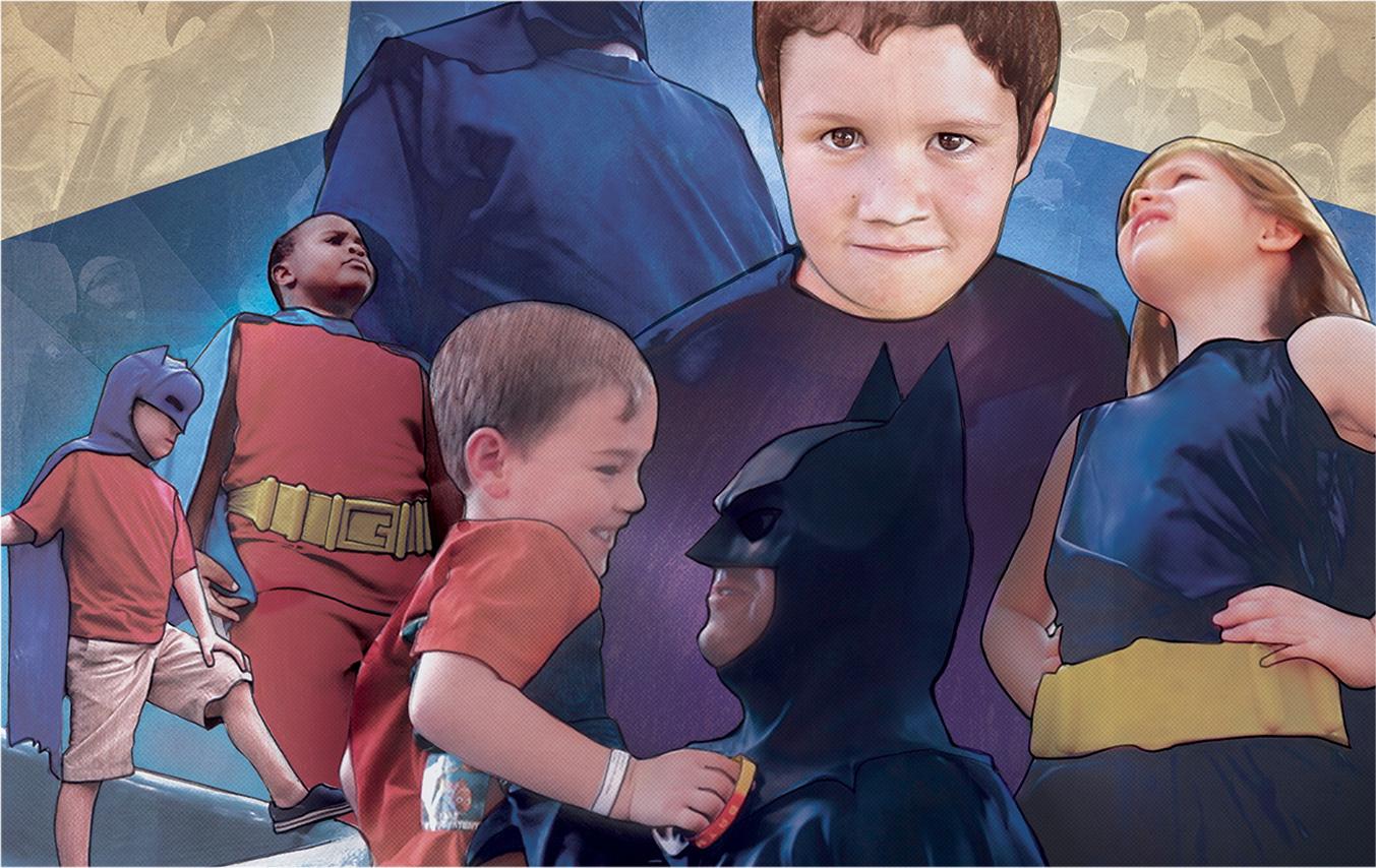 Batman and children in heroic poses