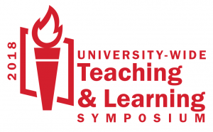 2018 University-wide Teaching & Learning Symposium logo with a flame
