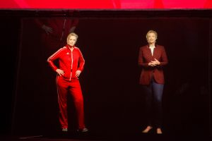 """Jane Lynch '82 appeared as a hologram on stage alongside a hologram version """"Sue Sylvester,"""" Lynch's character from Glee."""