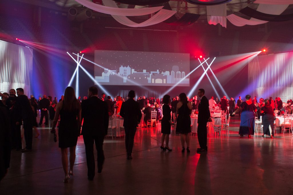 Redbird Arena decorated for campaign kickoff