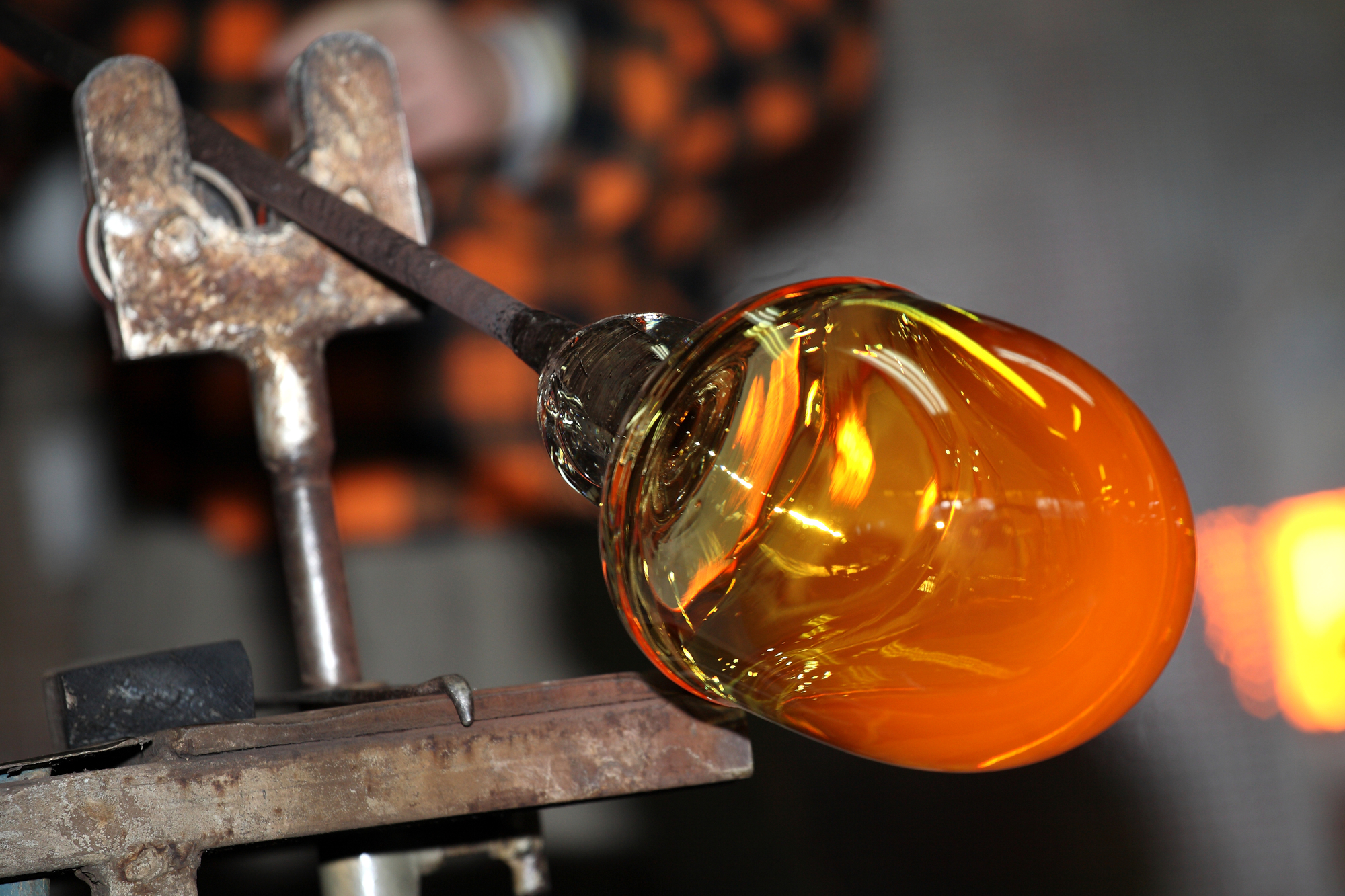 Glass being fired into artwork