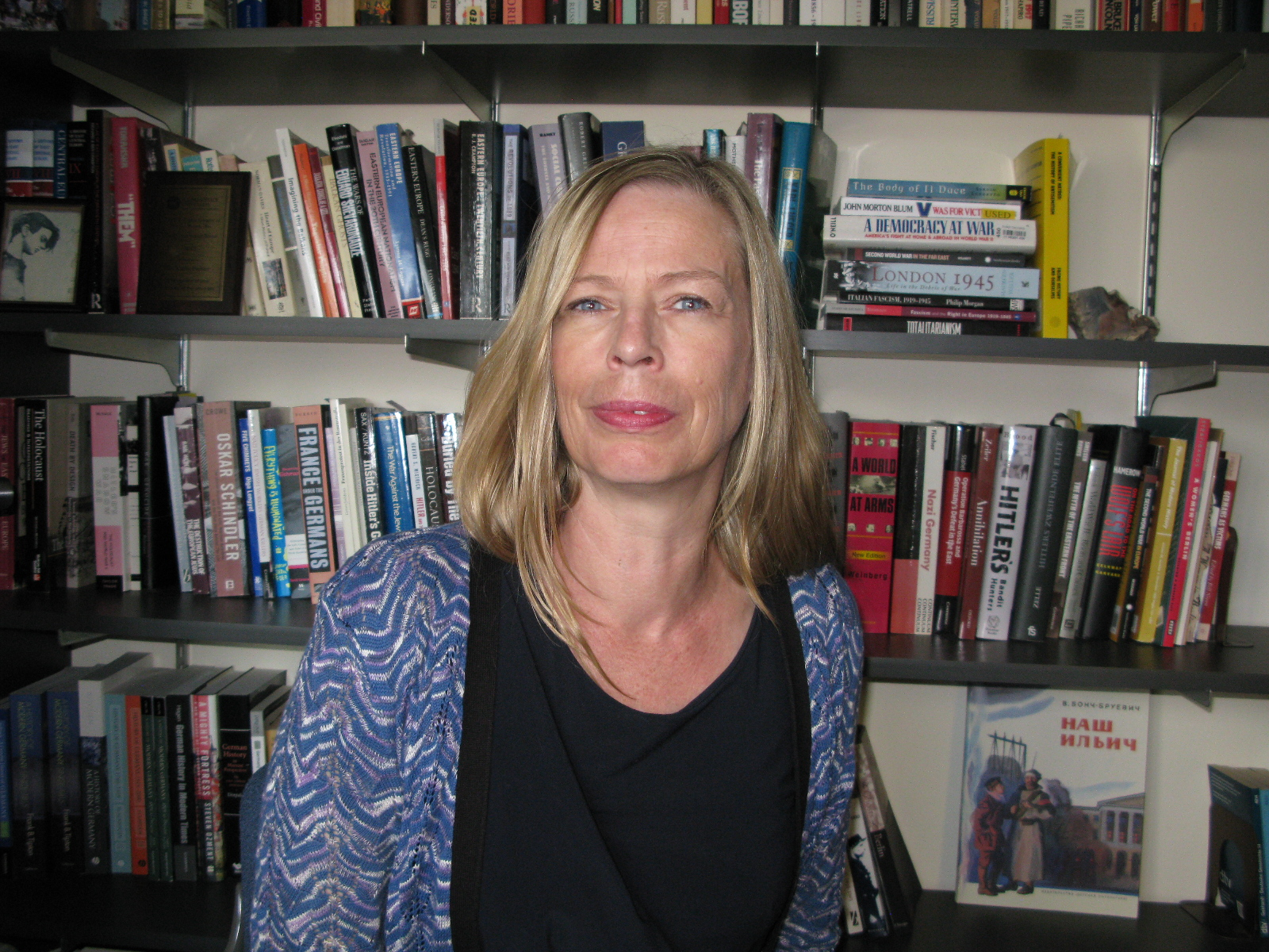 Katrin Paehler in her office, surrounded by books