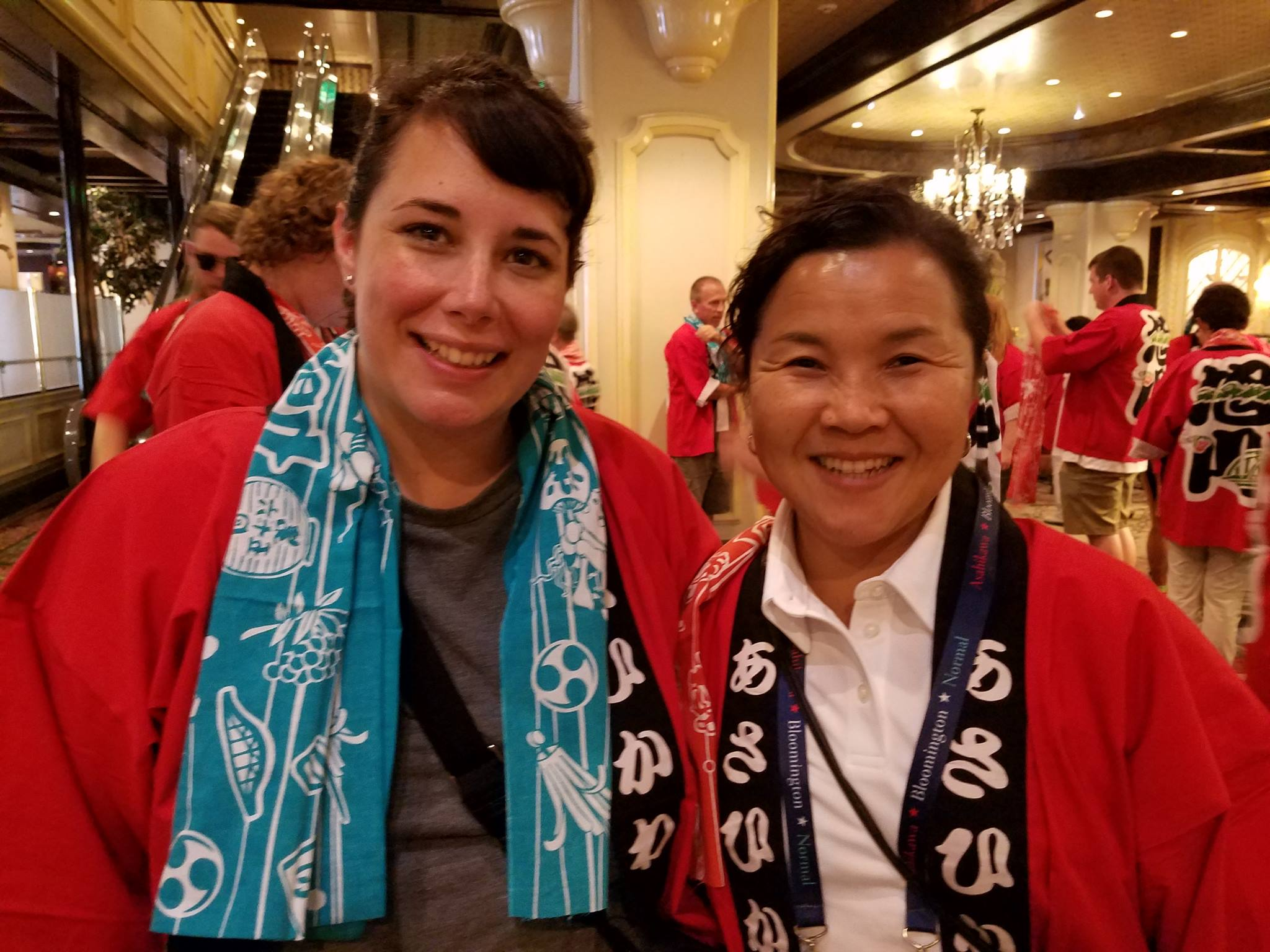 Harriet Steinbach smiling with SIster Cities colleague in Japan