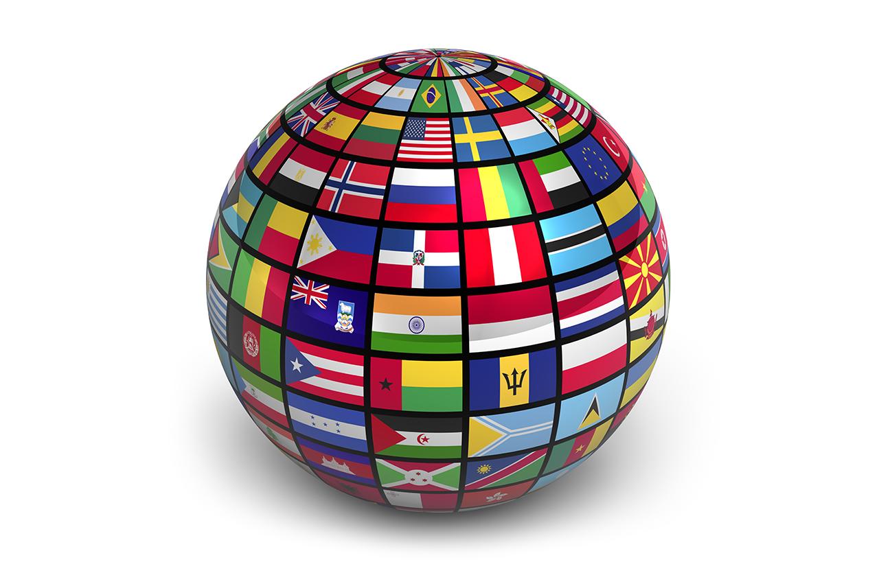 International globe with world flags isolated on white background