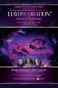 Concert poster showing image of the Creation including headshots of the three featured soloists.