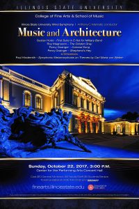 Poster for Music and Architecture concert, listing program. Includes image of a bulding.