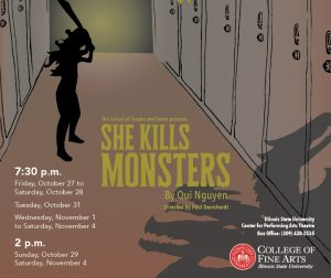 Poster for <I>She Kills Monsters</I> showing a girl in a school (lockers) with a shadow of a monster.