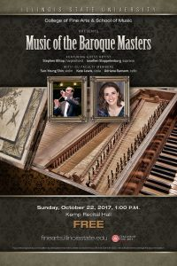 Poster for Music of the Baroque Masters concert. Image includes photos of guest artists Stephen Alltop and Josefien Stoppelenburg and an image of a harpsichord.