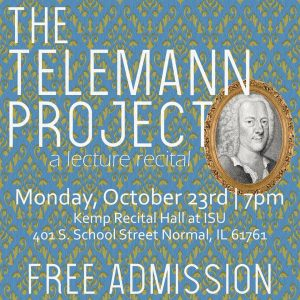 Poster for The Telemann Project, with image of Telemann.