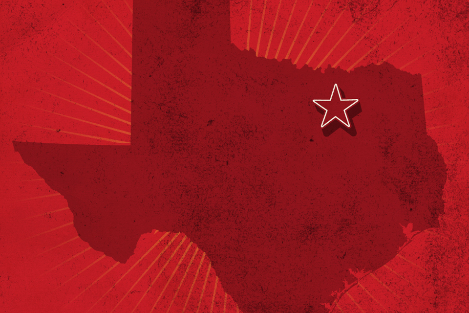 Picture of Texas with star on Dallas