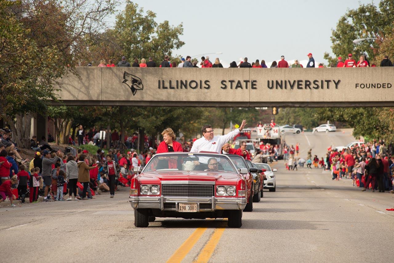ISU President Larry Dietz in Homecoming Parade