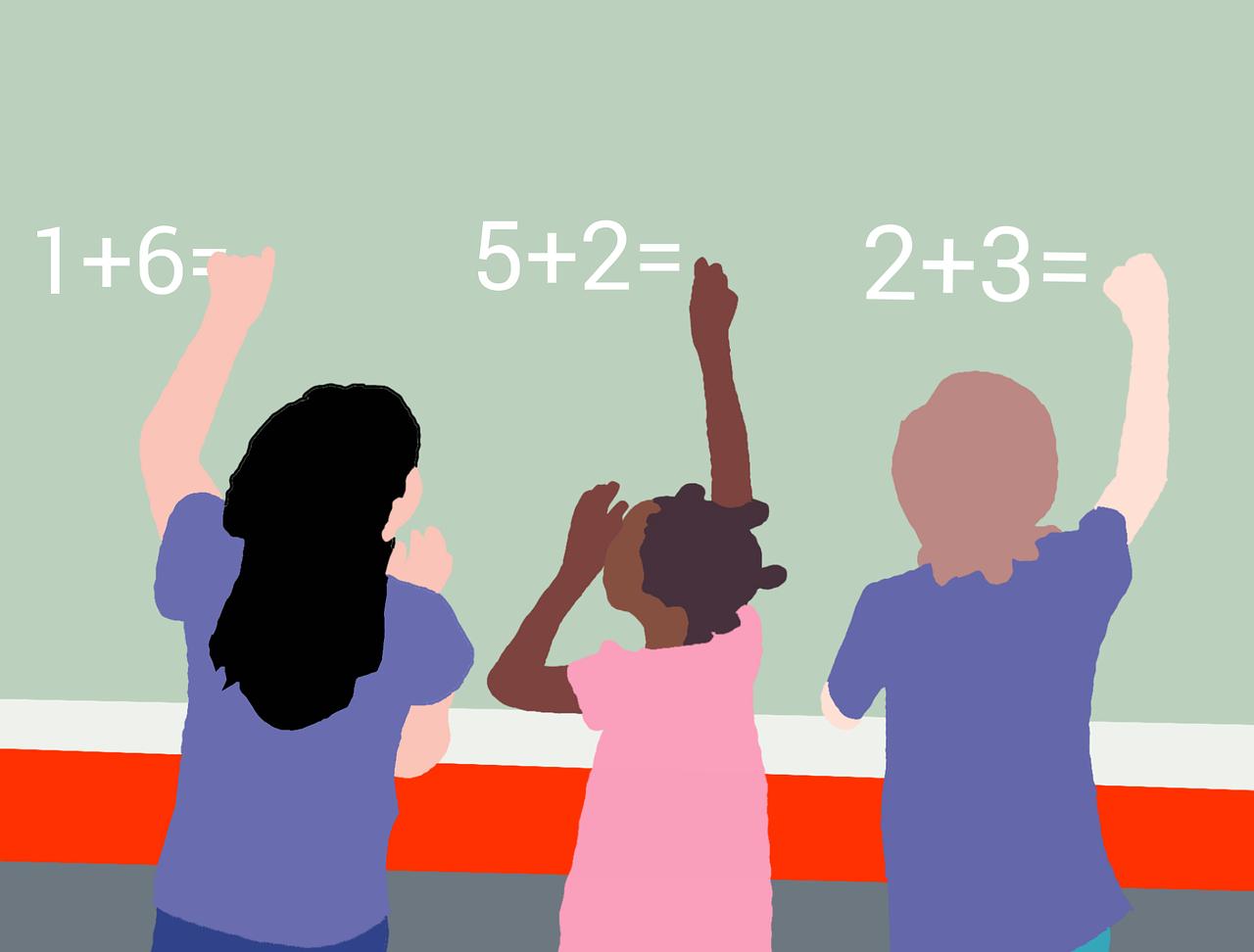 Cartoon of kids doing math