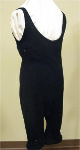 wool one piece swimsuit that stretches down past the knees and loops over the arms