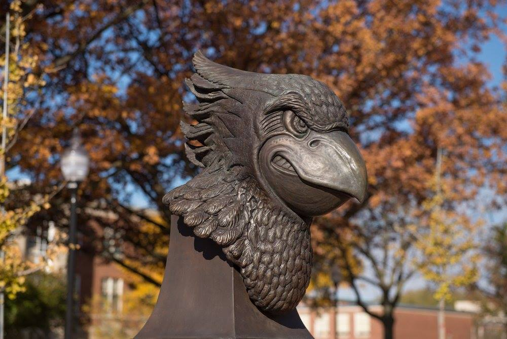 Redbird statue in fall