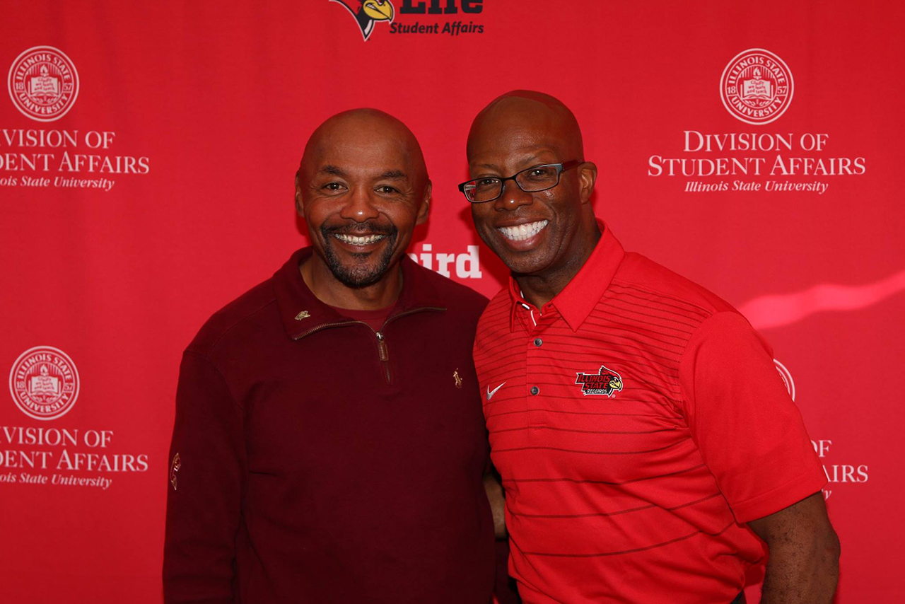Retiree Rick Lewis with Vice President for Student Affairs Levester (LJ) Johnson